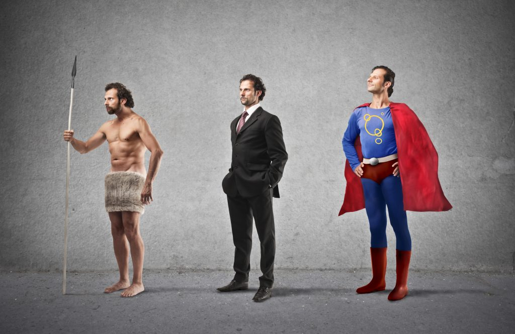 Evolution,Of,Man,From,Caveman,To,Super,Hero